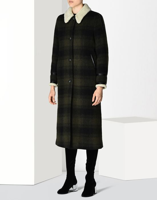 MM6 MAISON MARGIELA Checked coat with faux shearling detail Coat D f