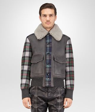 BLOUSON IN ARDOISE HAZE MULTICOLOR SHEARLING BOILED WOOL