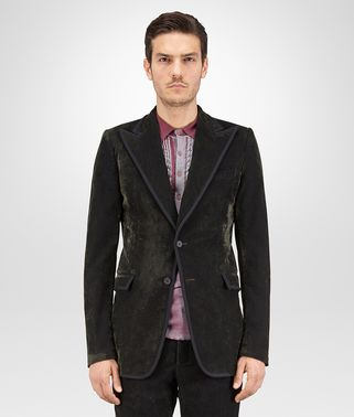 JACKET IN DARK SERGENT VELVET NERO RIBBON DETAIL