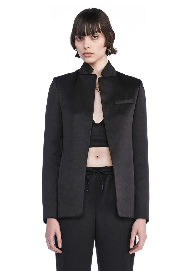 T by ALEXANDER WANG JACKETS AND OUTERWEAR  Women STRETCH SATIN COLLARUP OPEN BLAZER