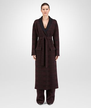 COAT IN BLACK BAROLO CHECK WOOL CASHMERE