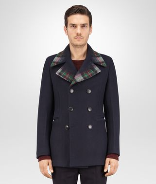 CABAN IN TOURMALINE WOOL CASHMERE WITH NEEDLE PUNCH TARTAN DETAIL