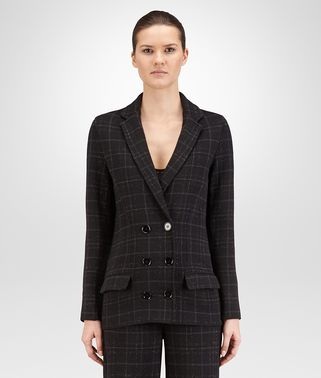 JACKET IN NERO DARK GREY ANCIENT SILVER LUREX WOOL