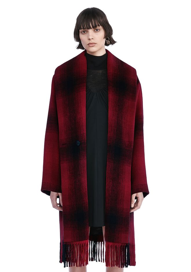 T by ALEXANDER WANG t-by-alexander-wang-sale SHAWL COLLARED WOOL COAT WITH FRINGE HEM