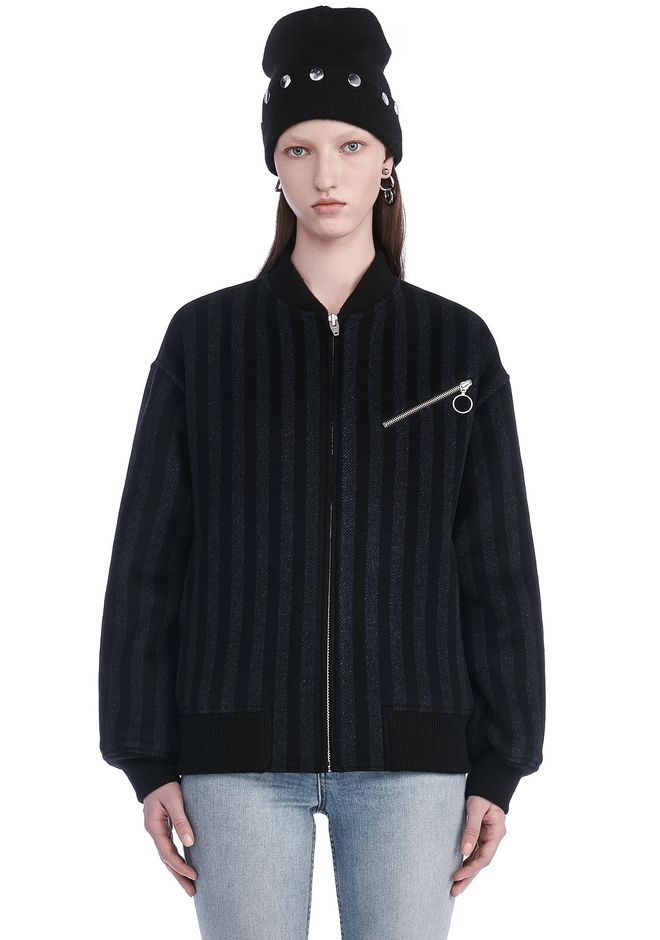 T by ALEXANDER WANG t-by-alexander-wang-sale STRIPED WOOL BOMBER