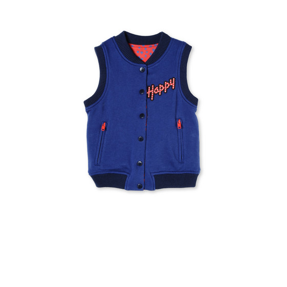 Blue and Red Airplane Print Rhubarb Vest