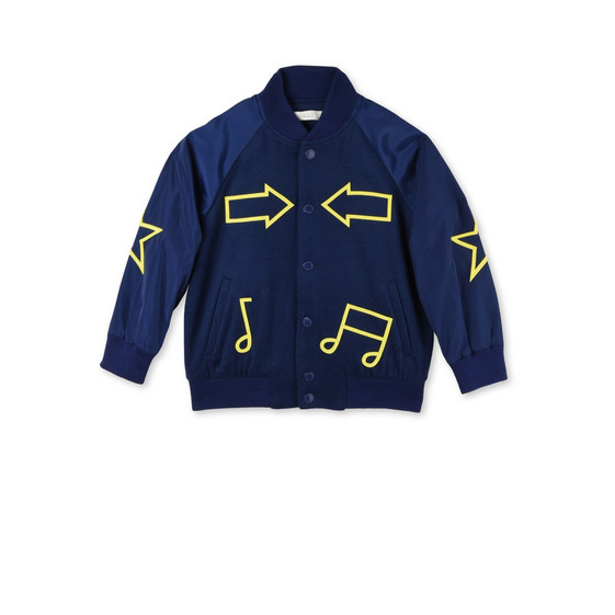 Blue Musical Notes Print Jacket