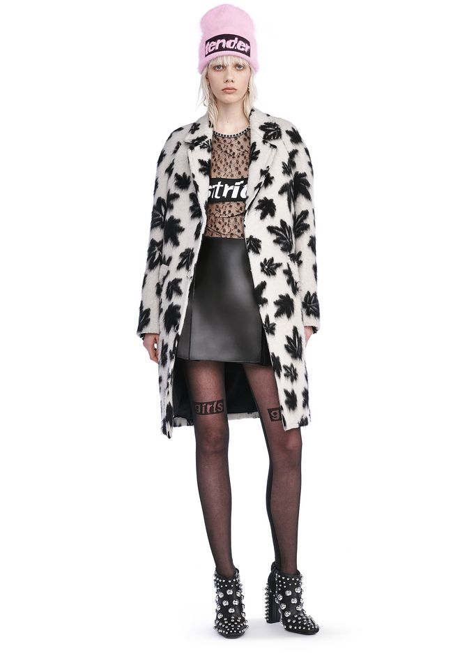 ALEXANDER WANG JACKETS AND OUTERWEAR  LEAF MOTIF CAR COAT
