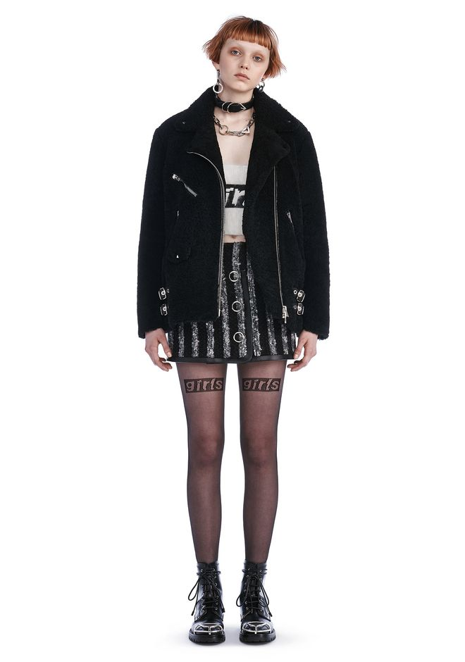 ALEXANDER WANG JACKETS AND OUTERWEAR  BOYFRIEND SHEARLING MOTO JACKET WITH HARDWARE DETAIL
