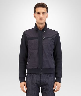 BLOUSON IN DARK NAVY COTTON JERSEY NYLON, PRINTED INTRECCIATO DETAILS