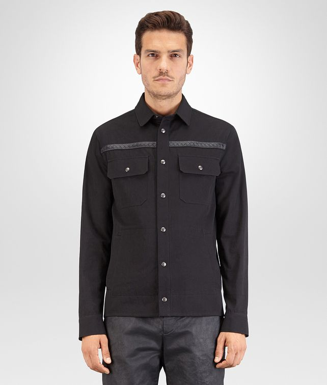 BOTTEGA VENETA SHIRT IN NERO COTTON, INTRECCIATO NAPPA DETAILS Outerwear and Jacket Man fp