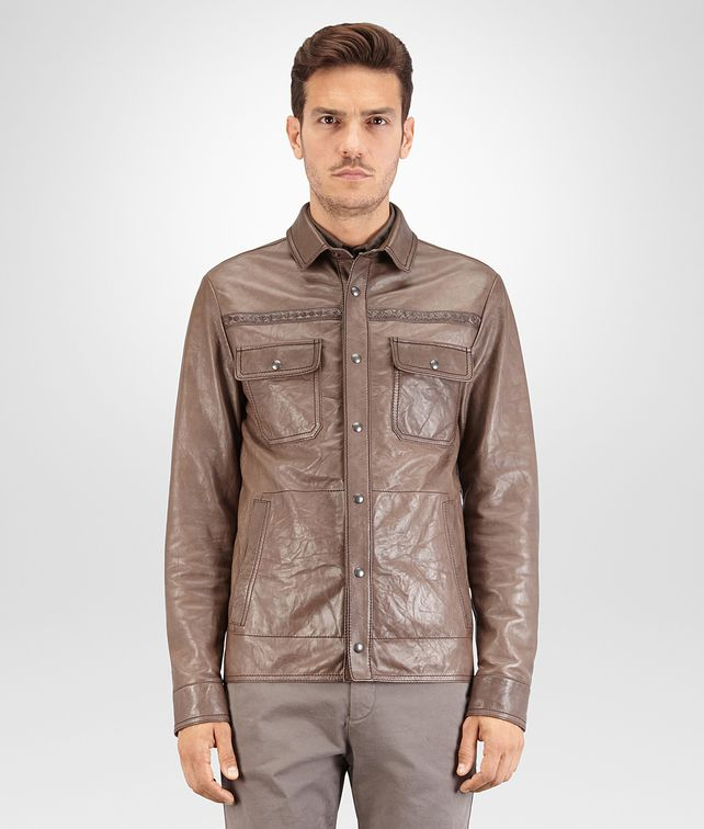BOTTEGA VENETA SHIRT IN STEEL LEATHER, INTRECCIATO DETAILS Outerwear and Jacket Man fp