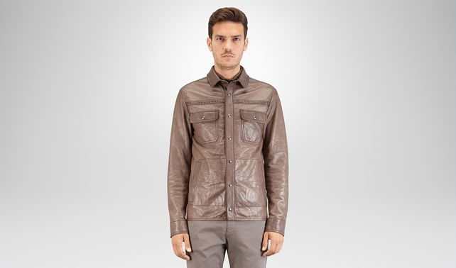 SHIRT IN STEEL LEATHER, INTRECCIATO DETAILS