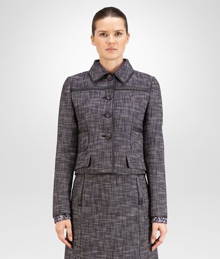 BLOUSON IN MULTICOLOR COTTON TWEED, INTRECCIATO NAPPA DETAIL