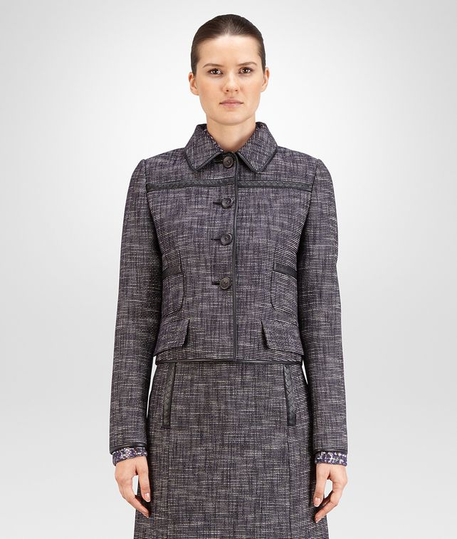 BOTTEGA VENETA BLOUSON IN MULTICOLOR COTTON TWEED, INTRECCIATO NAPPA DETAIL Coat or Jacket Woman fp