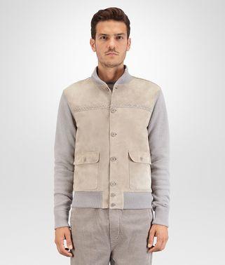 金属灰皮革束腰外套