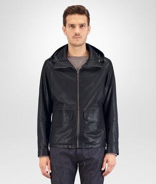 BLOUSON IN PELLE DARK NAVY