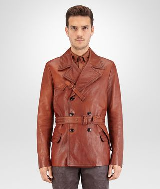 PEA COAT IN CALVADOS LEATHER, INTRECCIATO DETAILS