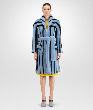 COAT IN AIR FORCE BLUE NERO SHEARLING FUR, INTRECCIATO DETAILS