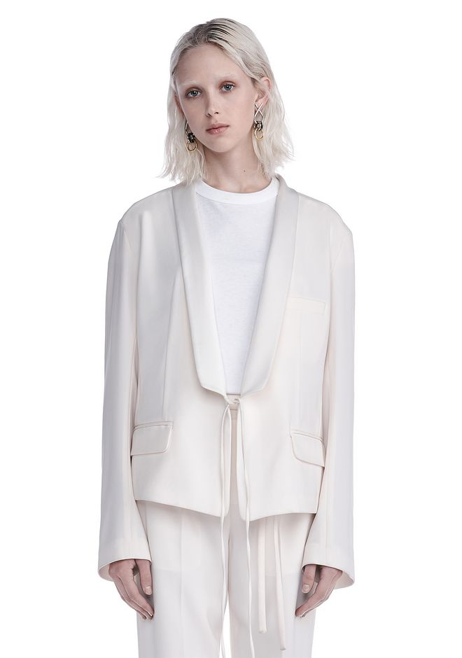 T by ALEXANDER WANG JACKETS AND OUTERWEAR  DRAPE POLY TWILL FRONT TIE TUX BLAZER
