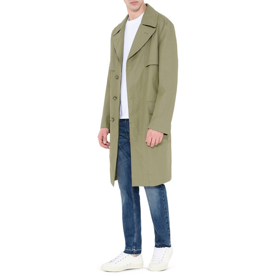 Coated Cotton Linen Trench Coat
