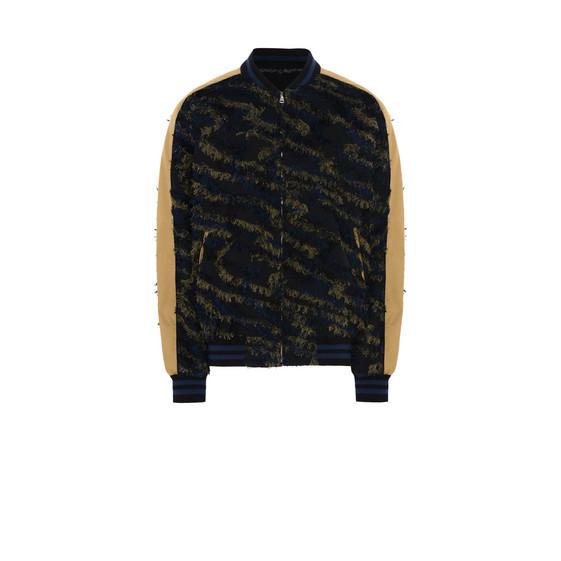 Textured Jacquard Bomber Jacket