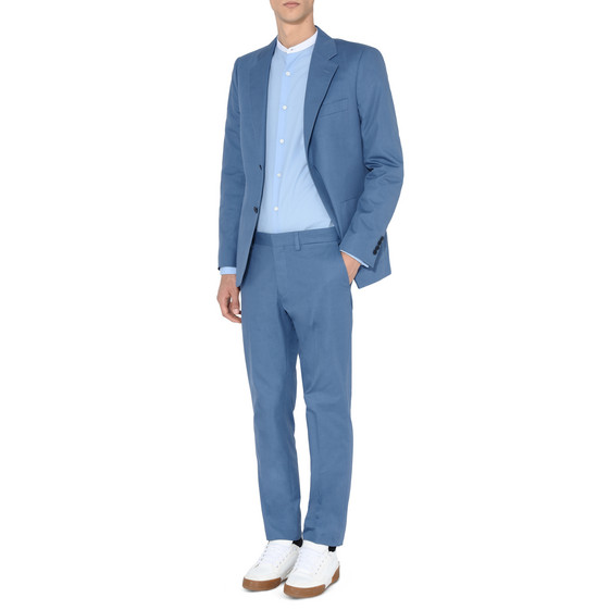 Blue Cotton Gabardine Jacket