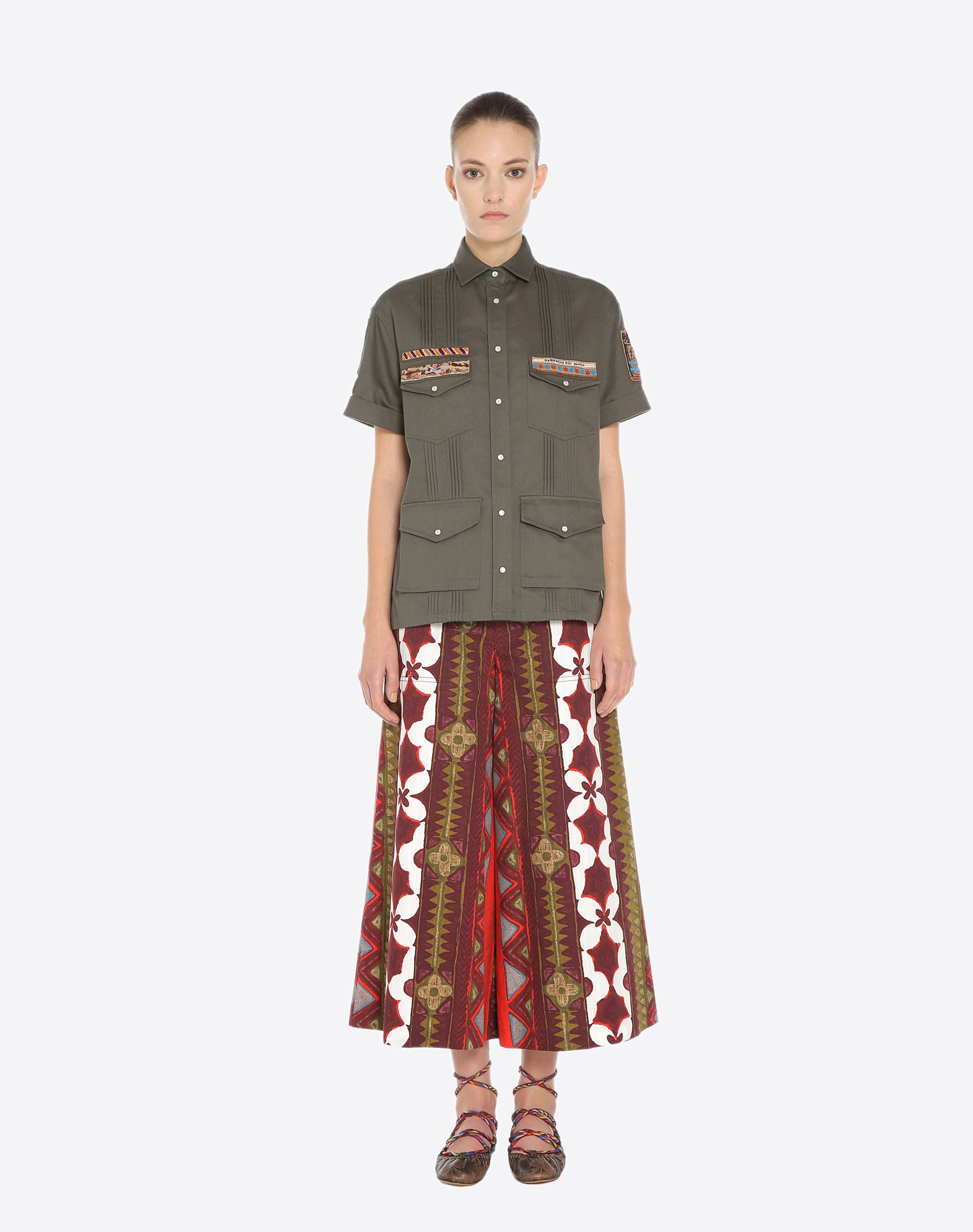 VALENTINO Gabardine Pleated detailing Contrasting applications Solid colour  41684050dw