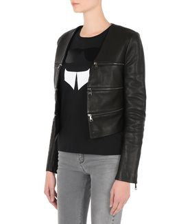 KARL LAGERFELD CROPPED LEATHER ZIPPED JACKET