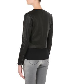 KARL LAGERFELD CROPPED LEATHER ZIP JACKET