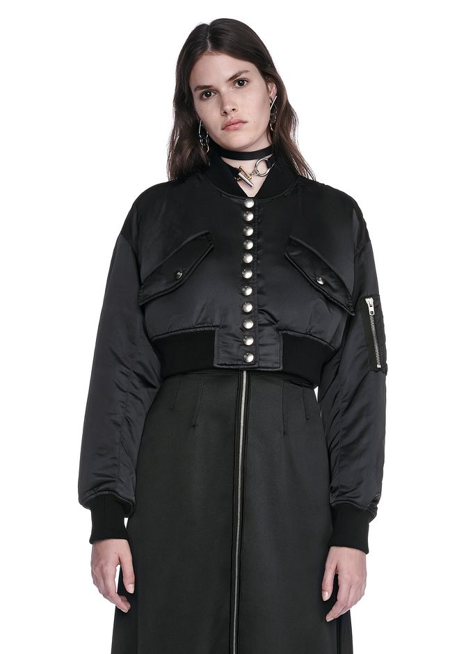 ALEXANDER WANG new-arrivals-ready-to-wear-woman CROPPED BOMBER JACKET WITH MULTI SNAP PLACKET