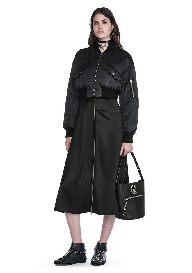 ALEXANDER WANG JACKETS AND OUTERWEAR  CROPPED BOMBER JACKET WITH MULTI SNAP PLACKET