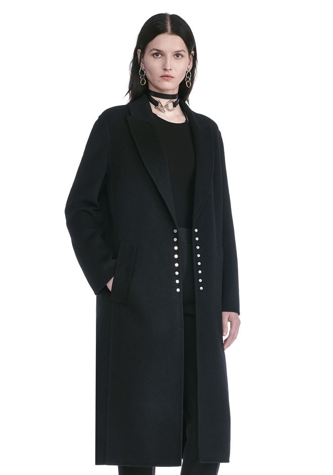 ALEXANDER WANG PEAK LAPEL LONG WOOLCOAT WITH SNAP CLOSURE DETAIL  VESTES ET VÊTEMENTS OUTDOOR Adult 12_n_a