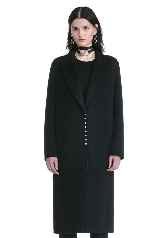 ALEXANDER WANG resort17-collection PEAK LAPEL LONG WOOLCOAT WITH SNAP CLOSURE DETAIL