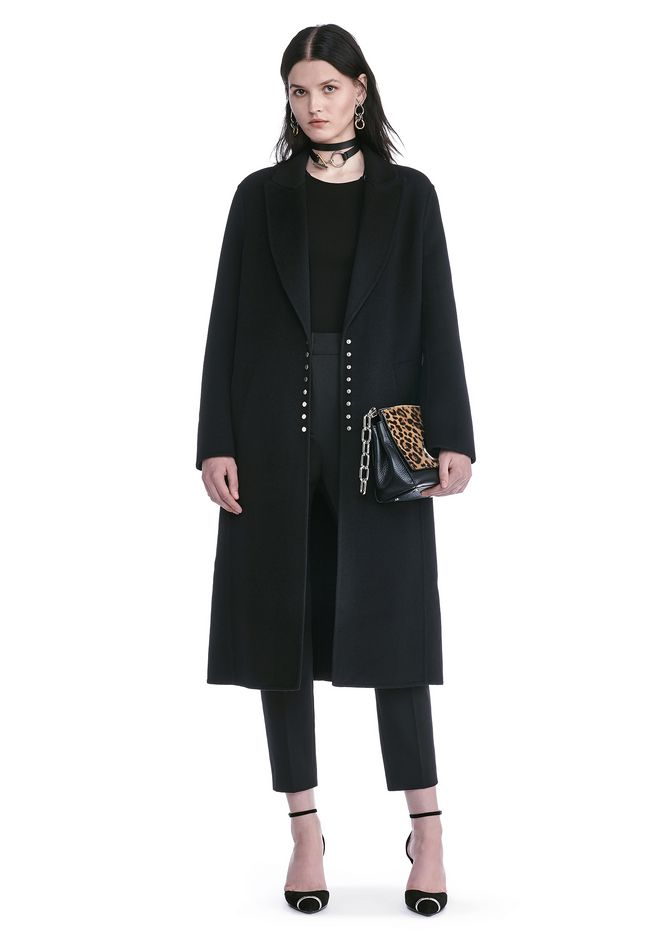 ALEXANDER WANG JACKETS AND OUTERWEAR  PEAK LAPEL LONG WOOLCOAT WITH SNAP CLOSURE DETAIL