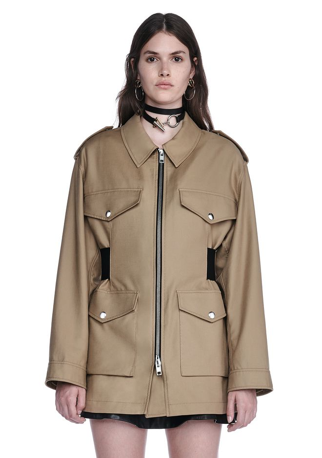 ALEXANDER WANG new-arrivals-ready-to-wear-woman PARKA JACKET WITH ELASTICATED LACE UP BELT INSERT