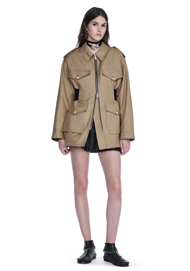 ALEXANDER WANG JACKETS AND OUTERWEAR  PARKA JACKET WITH ELASTICATED LACE UP BELT INSERT