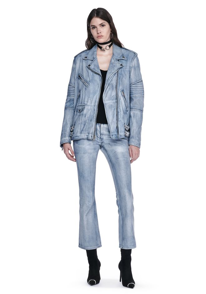 ALEXANDER WANG JACKETS AND OUTERWEAR  CLASSIC DENIM LEATHER BIKER JACKET