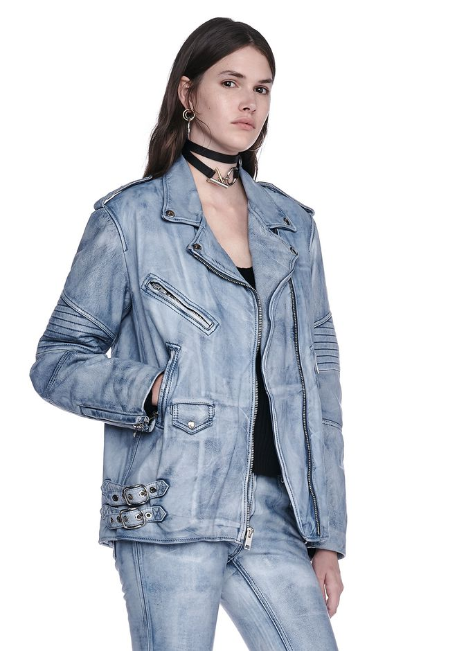 ALEXANDER WANG CLASSIC DENIM LEATHER BIKER JACKET  JACKETS AND OUTERWEAR  Adult 12_n_a