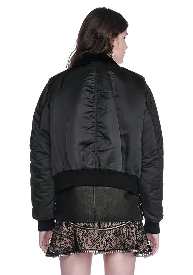 ALEXANDER WANG HYBRID MOTO BOMBER JACKET  JACKETS AND OUTERWEAR  Adult 12_n_d