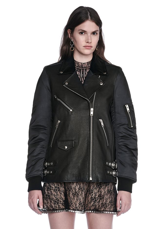 ALEXANDER WANG HYBRID MOTO BOMBER JACKET  JACKETS AND OUTERWEAR  Adult 12_n_e