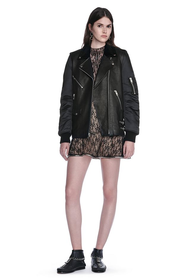 ALEXANDER WANG HYBRID MOTO BOMBER JACKET  JACKETS AND OUTERWEAR  Adult 12_n_f