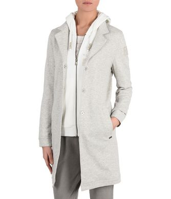 NAPAPIJRI ALEGRE JERSEY WOMAN LONG JACKET,LIGHT GREY