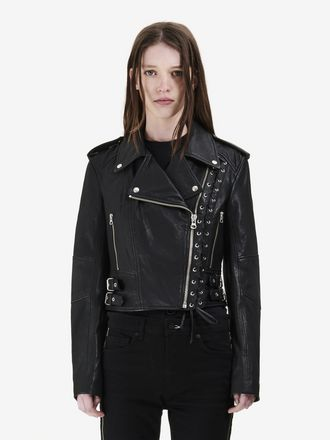 Eyelet Biker Leather Jacket