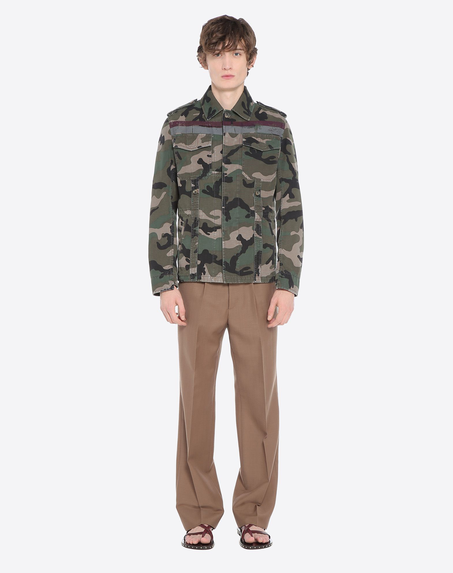 VALENTINO Canvas Camouflage design Flashes Four pockets Hidden buttons  41690694ce