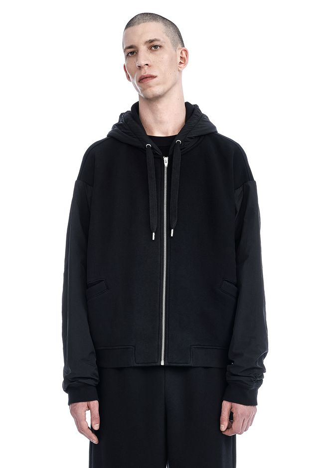 T by ALEXANDER WANG JACKETS AND OUTERWEAR  Men DENSE FLEECE REVERSIBLE HOODIE