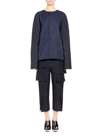Marni Jacket in coated poplin multi-pocketed sleeves Woman