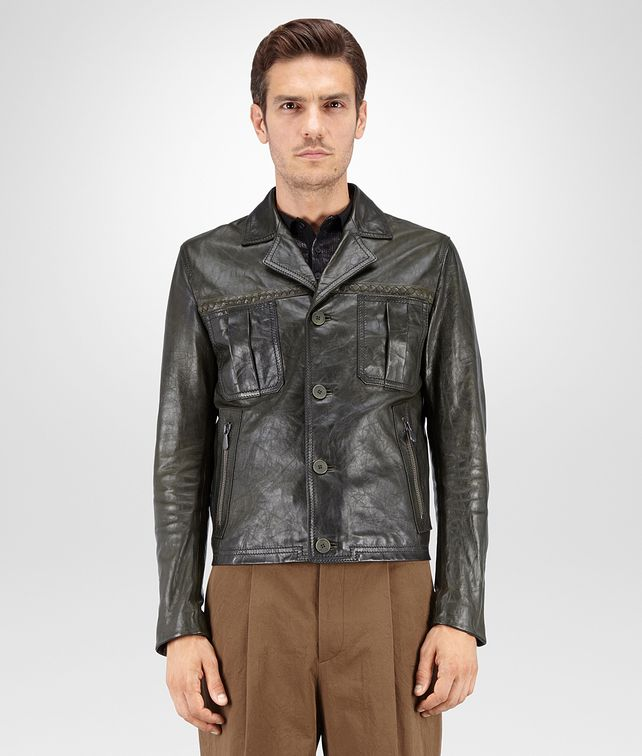BOTTEGA VENETA BLOUSON IN DARK SERGEANT CRINKLED LAMB, INTRECCIATO DETAILS Coat or Jacket U fp