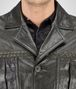 BOTTEGA VENETA BLOUSON IN DARK SERGEANT CRINKLED LAMB, INTRECCIATO DETAILS Coat or Jacket U ep