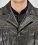 BOTTEGA VENETA BLOUSON IN DARK SERGEANT CRINKLED LAMB, INTRECCIATO DETAILS Outerwear and Jacket Man ep